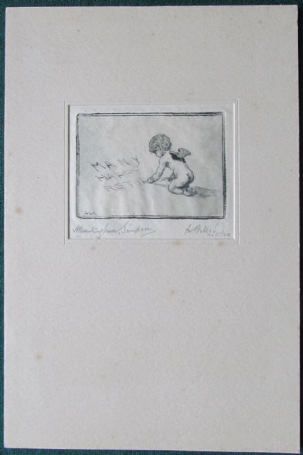 Alexander Brantingham Simpson Dry Point Drawing of a Putti Writing Happy Returns